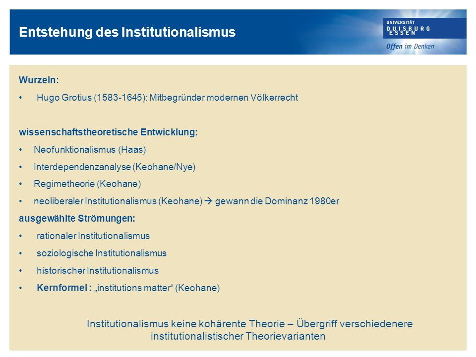 Entstehung des Institutionalismus