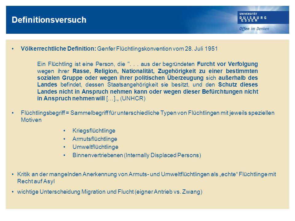 Definitionsversuch Völkerrechtliche Definition: Genfer Flüchtlingskonvention vom 28. Juli 1951.