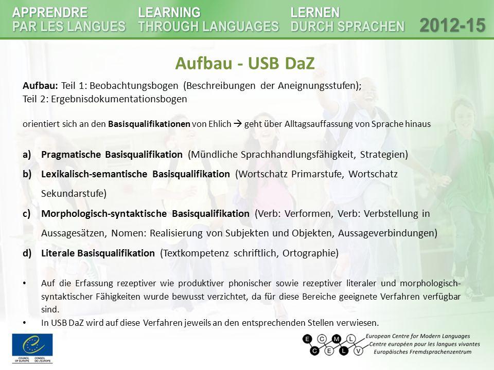 Aufbau - USB DaZ Aufbau: Teil 1: Beobachtungsbogen (Beschreibungen der Aneignungsstufen); Teil 2: Ergebnisdokumentationsbogen.