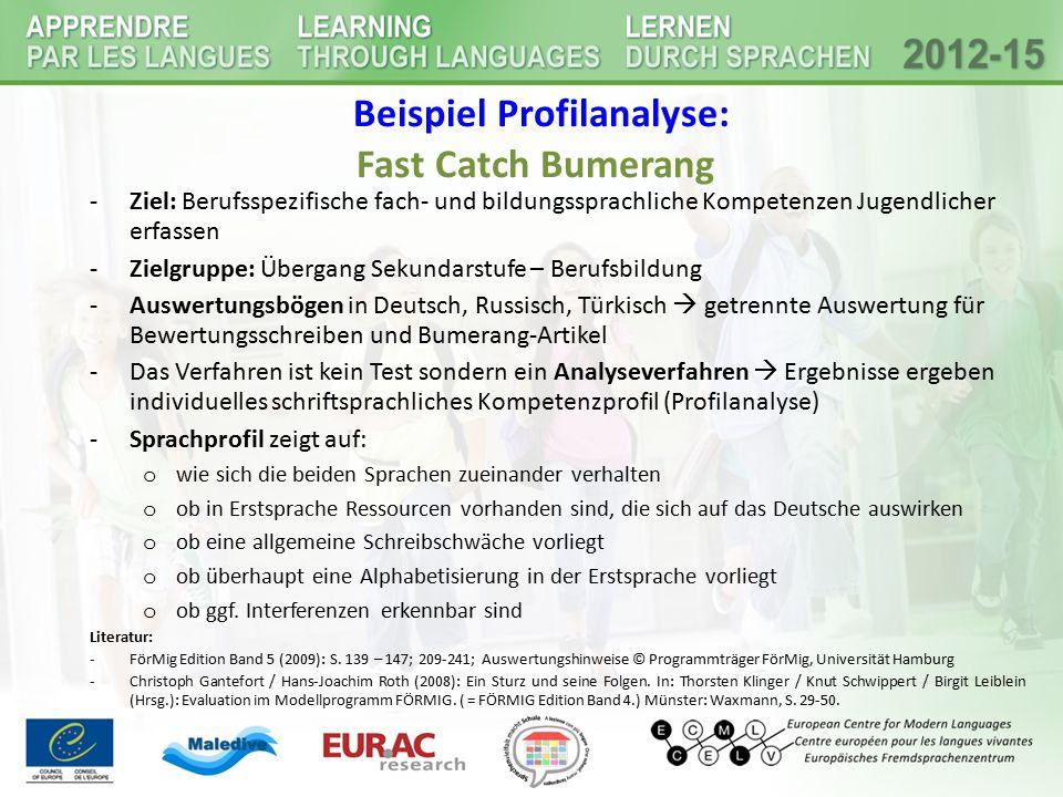 Beispiel Profilanalyse: Fast Catch Bumerang