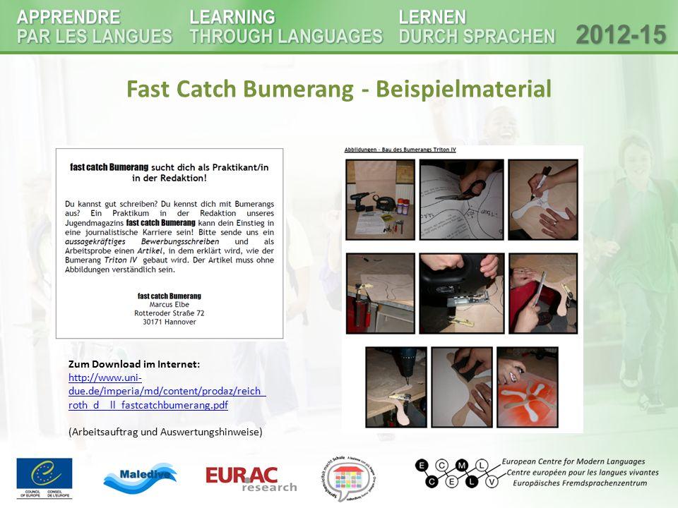 Fast Catch Bumerang - Beispielmaterial