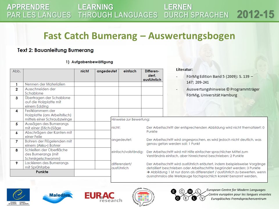 Fast Catch Bumerang – Auswertungsbogen