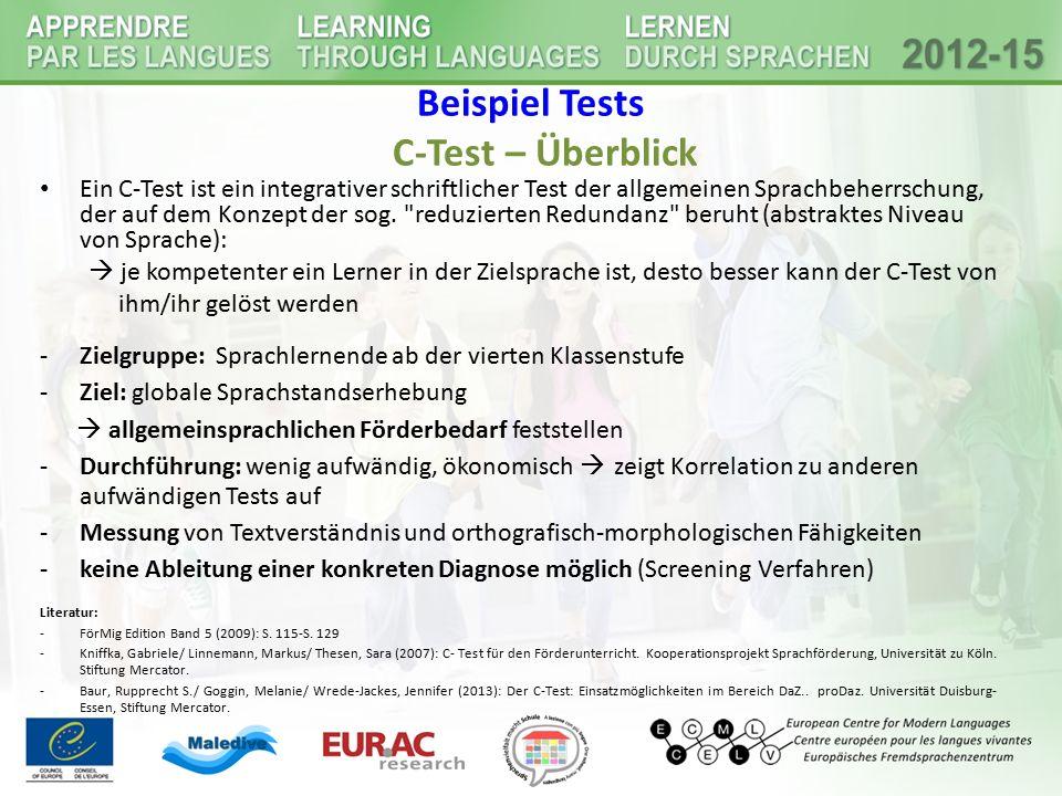 Beispiel Tests C-Test – Überblick