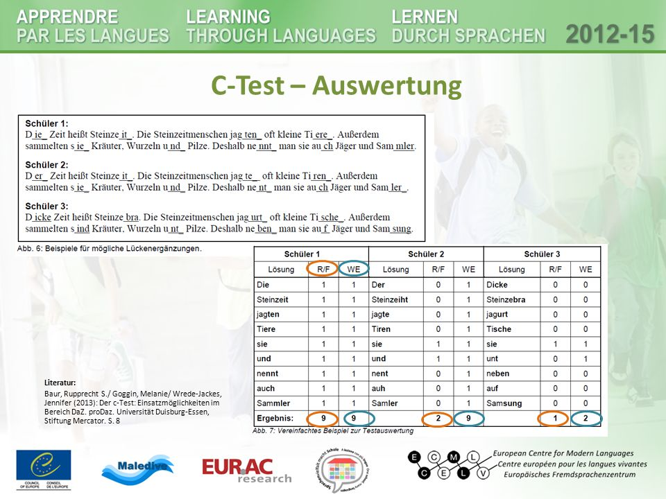 C-Test – Auswertung Literatur: