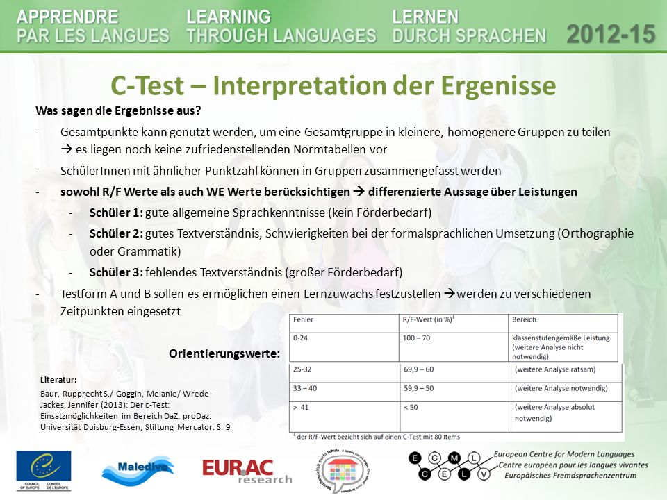 C-Test – Interpretation der Ergenisse