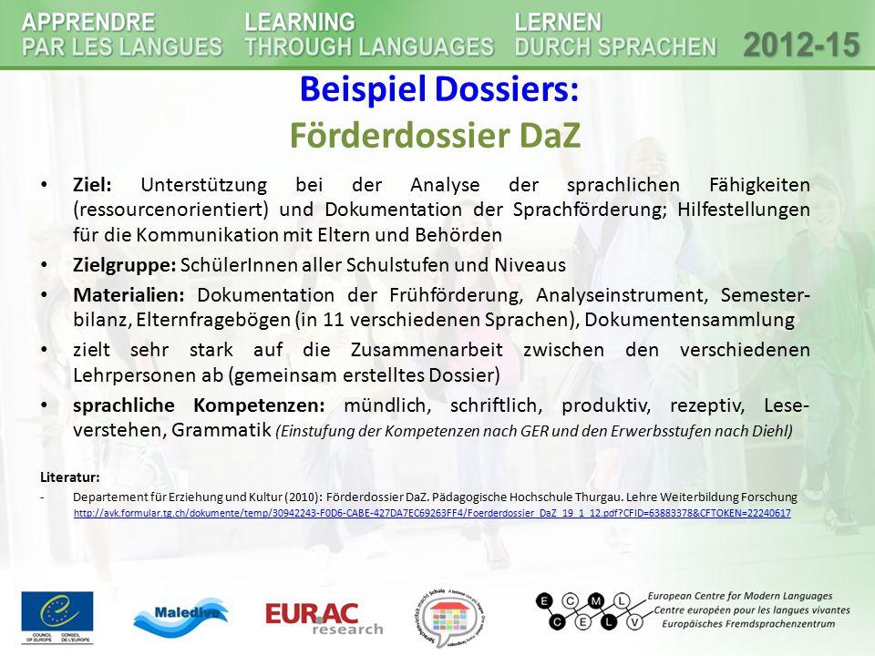 Beispiel Dossiers: Förderdossier DaZ