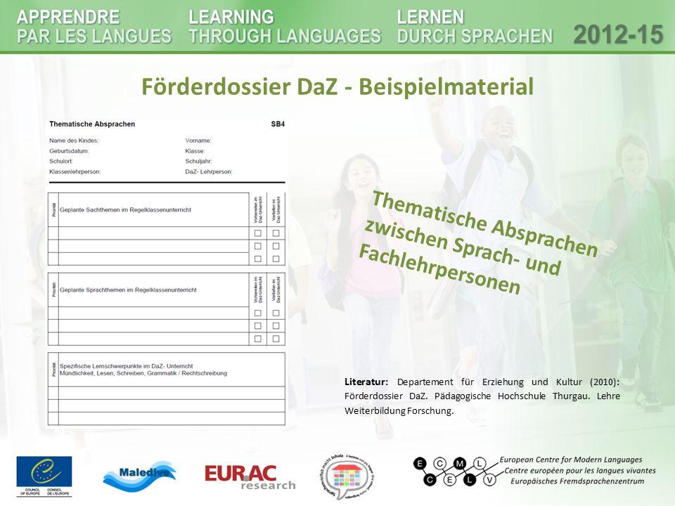 Förderdossier DaZ - Beispielmaterial
