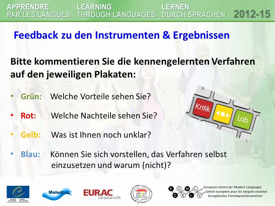 Feedback zu den Instrumenten & Ergebnissen