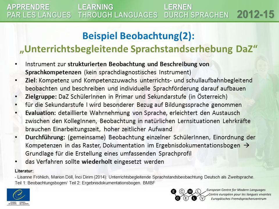 """Beispiel Beobachtung(2): """"Unterrichtsbegleitende Sprachstandserhebung DaZ"""