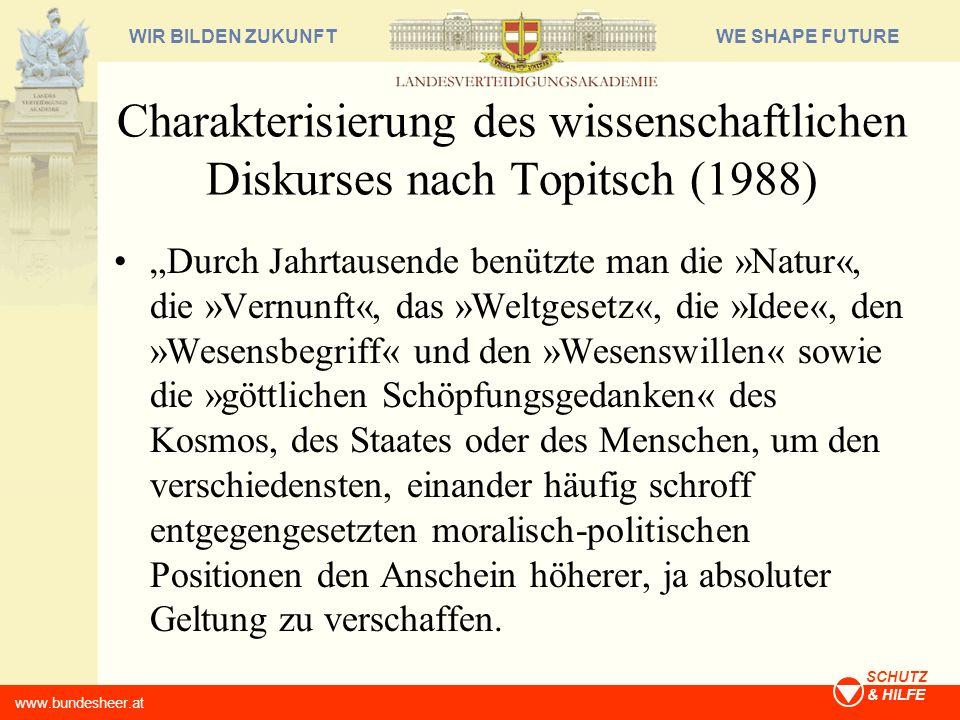 Charakterisierung des wissenschaftlichen Diskurses nach Topitsch (1988)