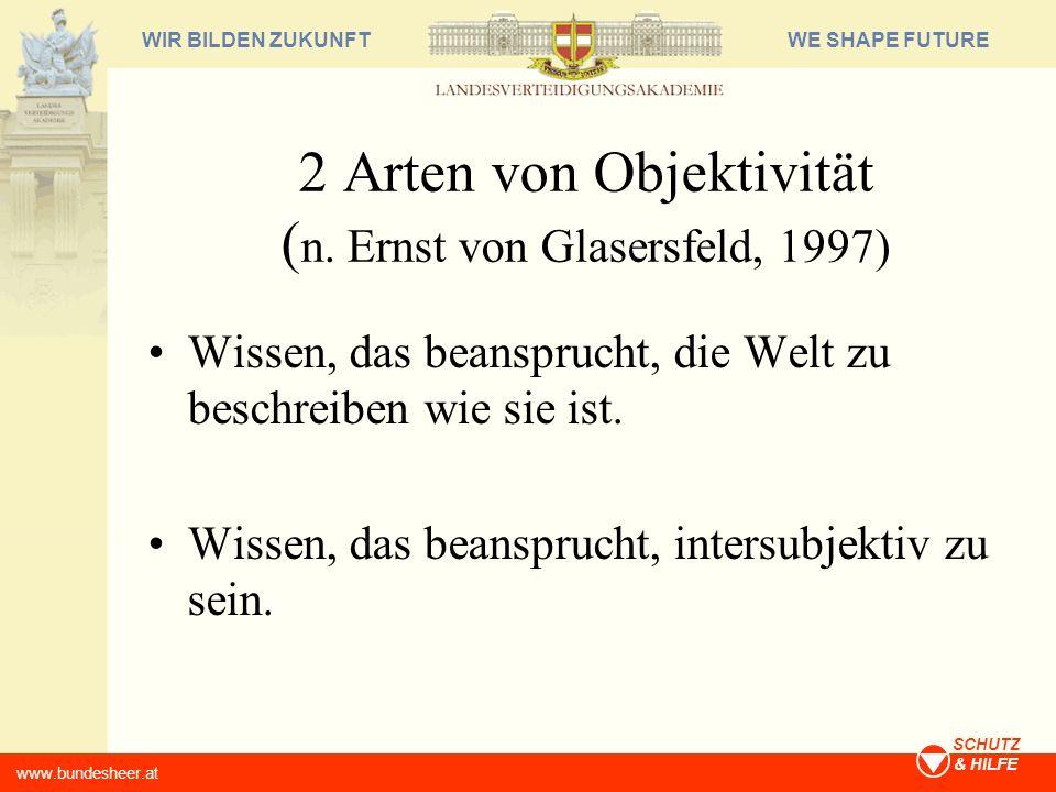 2 Arten von Objektivität (n. Ernst von Glasersfeld, 1997)