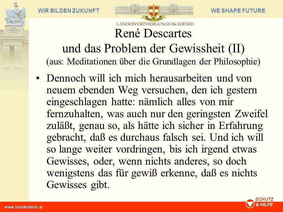René Descartes und das Problem der Gewissheit (II) (aus: Meditationen über die Grundlagen der Philosophie)