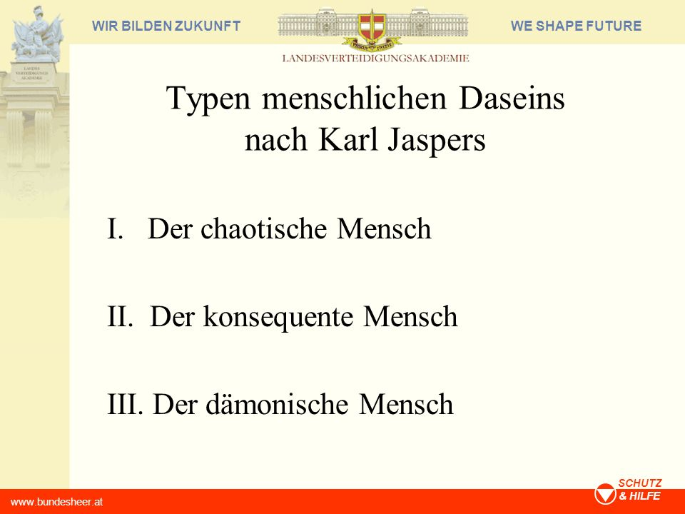 Typen menschlichen Daseins nach Karl Jaspers