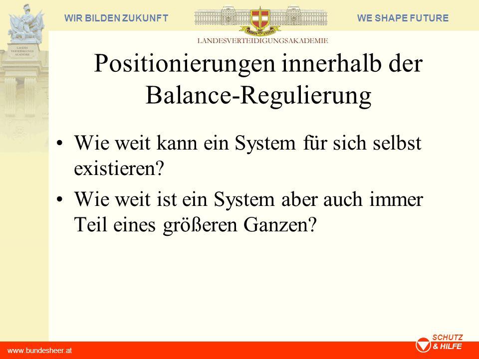 Positionierungen innerhalb der Balance-Regulierung