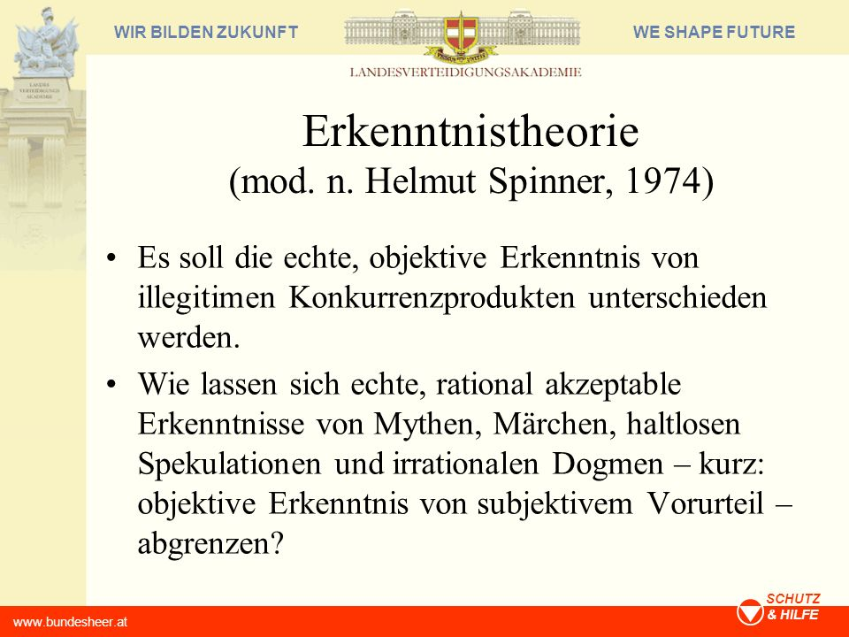 Erkenntnistheorie (mod. n. Helmut Spinner, 1974)