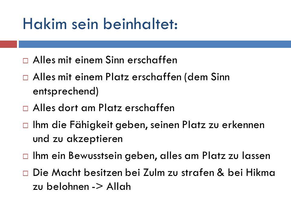 Hakim sein beinhaltet:
