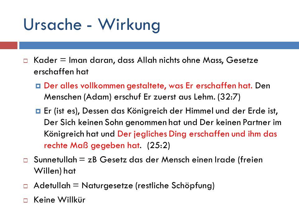Ursache - Wirkung Kader = Iman daran, dass Allah nichts ohne Mass, Gesetze erschaffen hat.