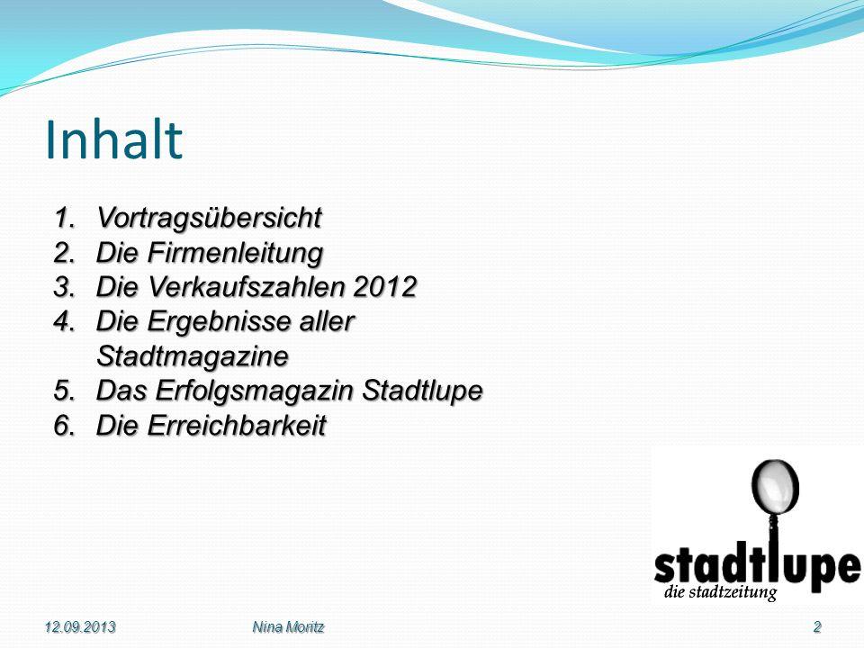 Inhalt Vortragsübersicht Die Firmenleitung Die Verkaufszahlen 2012