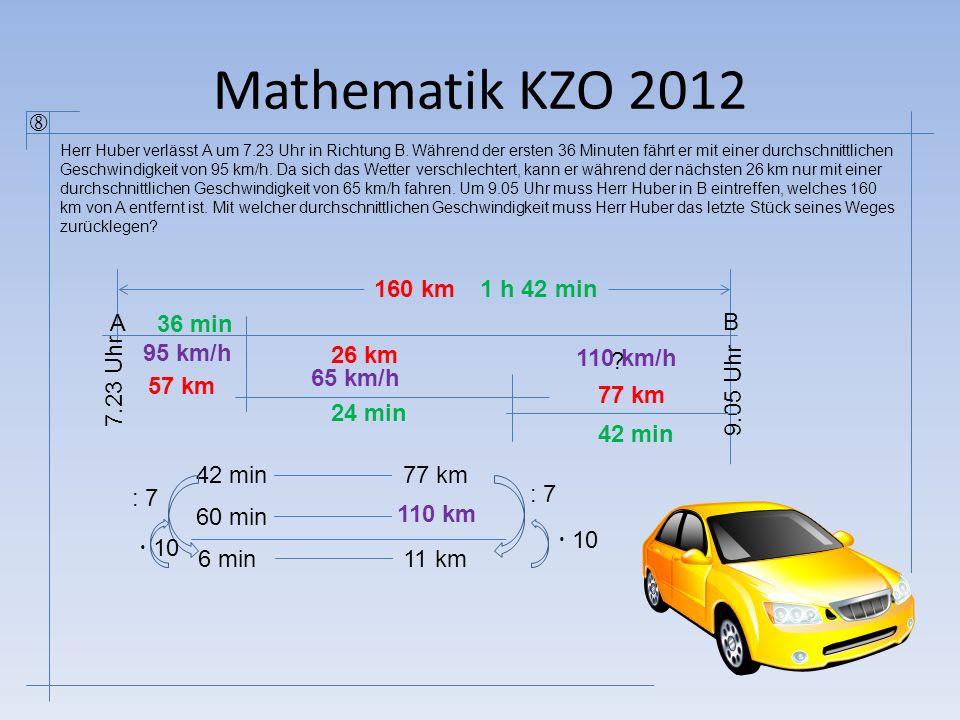 Mathematik KZO 2012  160 km 1 h 42 min A 36 min B 95 km/h 26 km