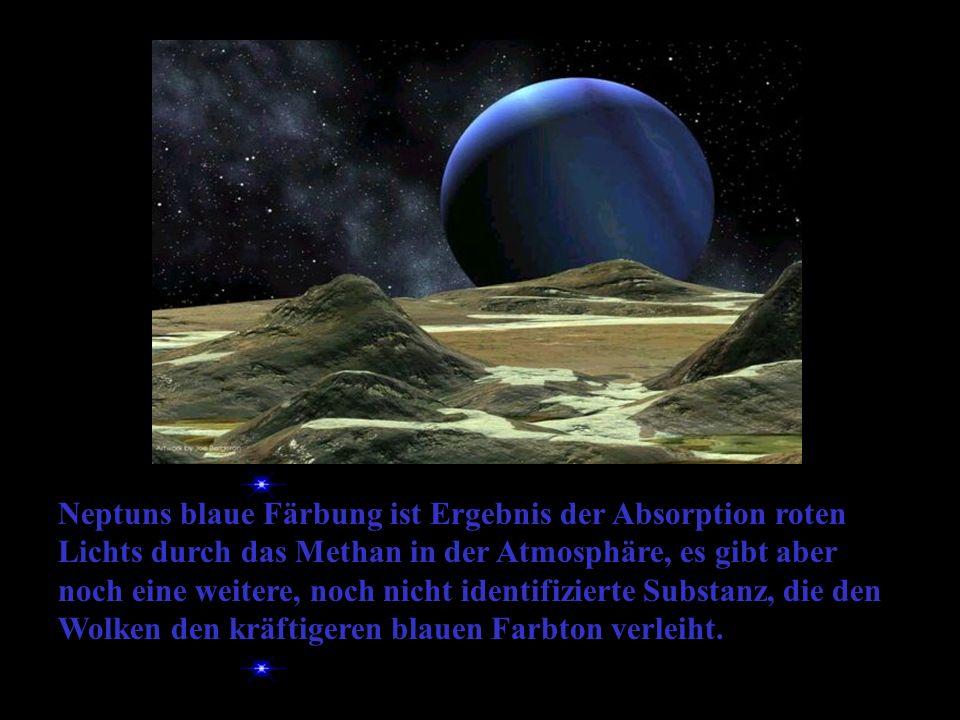Neptuns blaue Färbung ist Ergebnis der Absorption roten Lichts durch das Methan in der Atmosphäre, es gibt aber noch eine weitere, noch nicht identifizierte Substanz, die den Wolken den kräftigeren blauen Farbton verleiht.