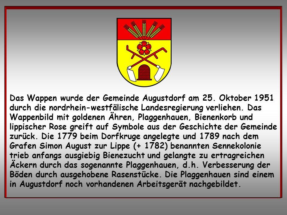 Das Wappen wurde der Gemeinde Augustdorf am 25
