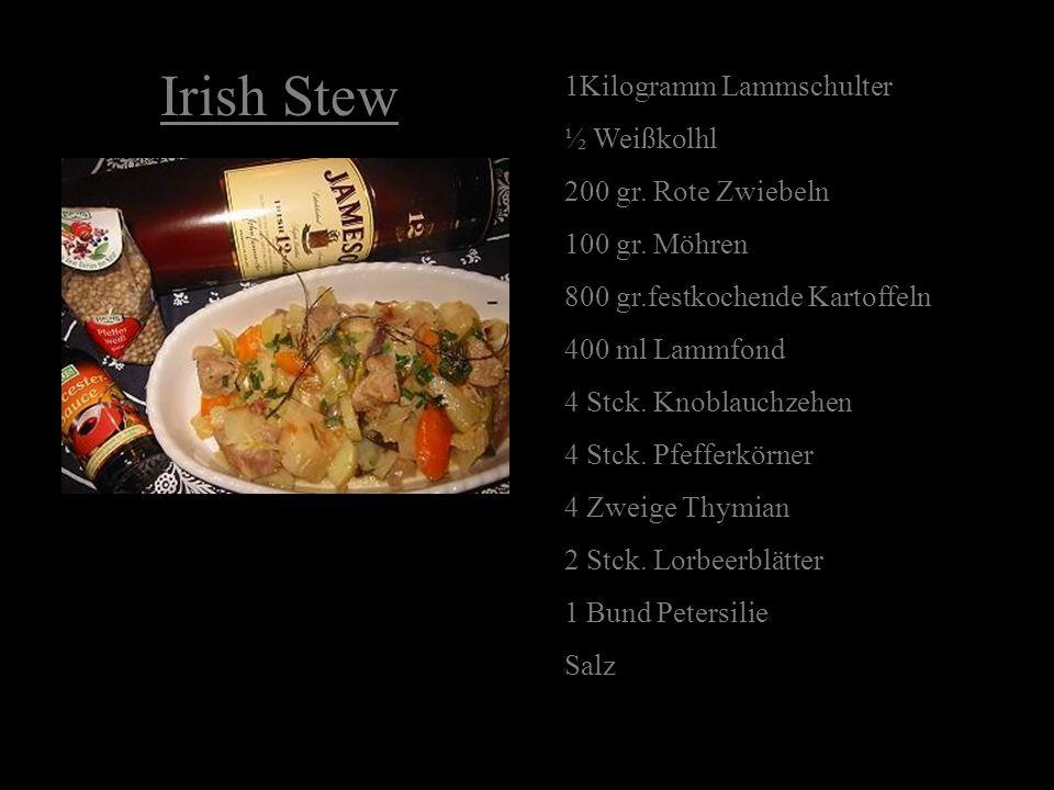 Irish Stew 1Kilogramm Lammschulter ½ Weißkolhl 200 gr. Rote Zwiebeln