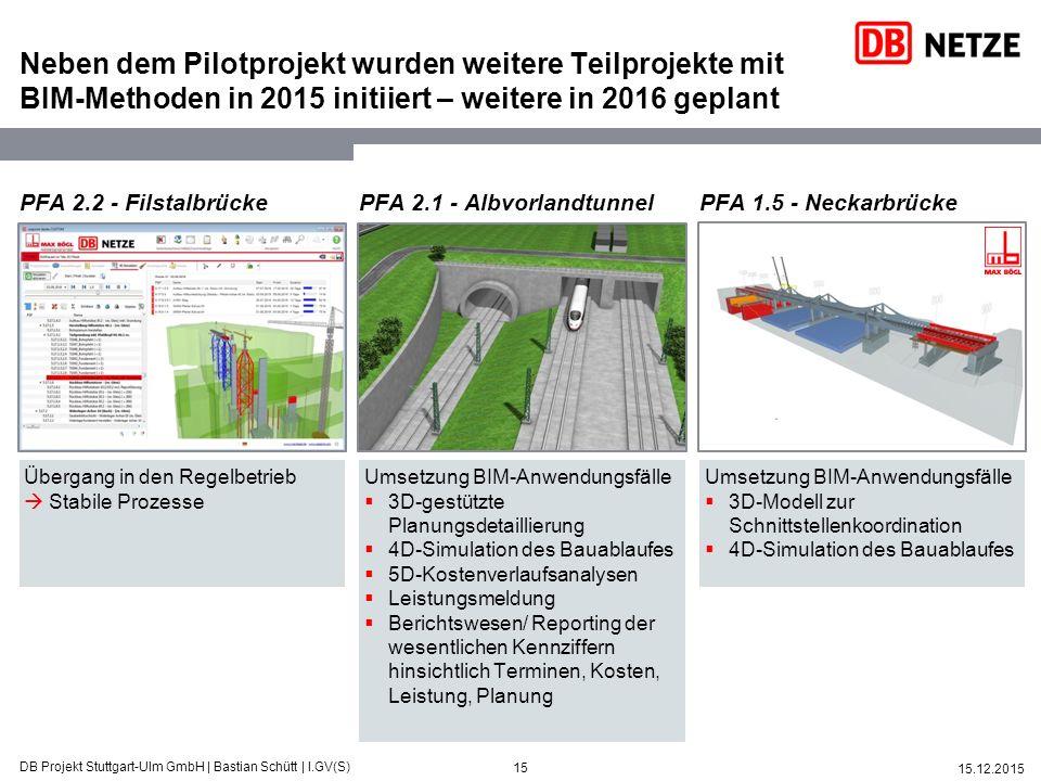 Neben dem Pilotprojekt wurden weitere Teilprojekte mit BIM-Methoden in 2015 initiiert – weitere in 2016 geplant