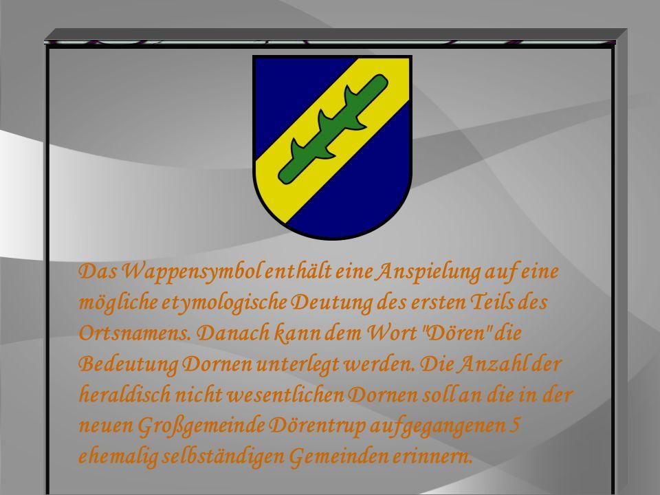 Das Wappensymbol enthält eine Anspielung auf eine mögliche etymologische Deutung des ersten Teils des Ortsnamens.