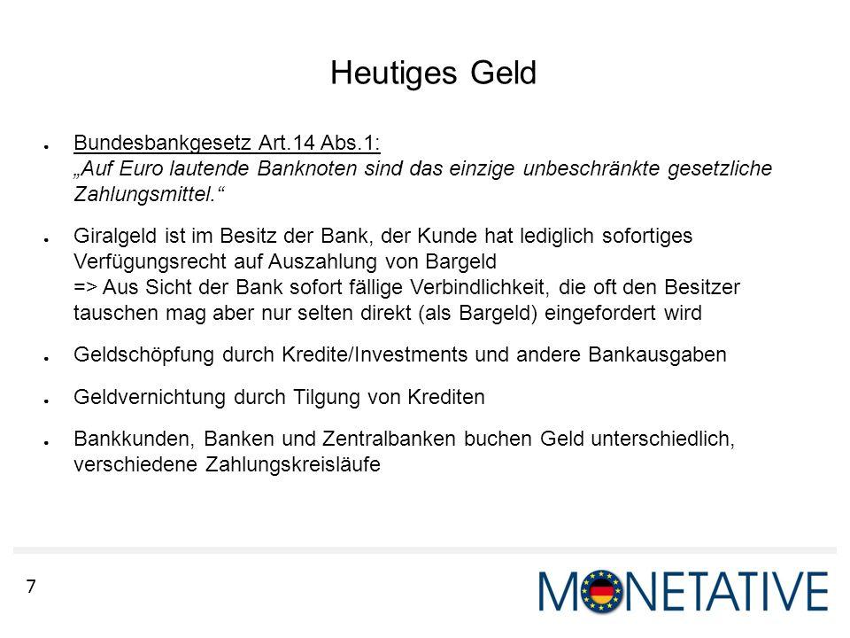 """Heutiges Geld Bundesbankgesetz Art.14 Abs.1: """"Auf Euro lautende Banknoten sind das einzige unbeschränkte gesetzliche Zahlungsmittel."""