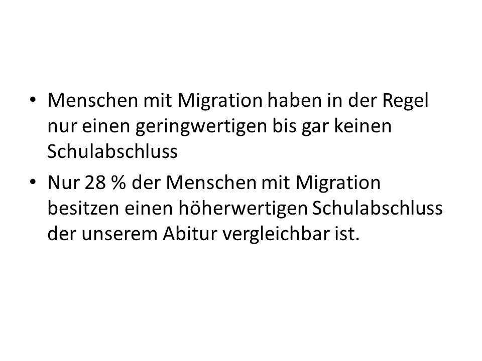 Menschen mit Migration haben in der Regel nur einen geringwertigen bis gar keinen Schulabschluss
