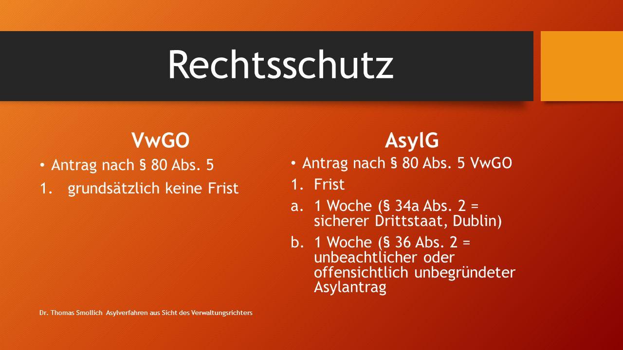 Rechtsschutz VwGO AsylG Antrag nach § 80 Abs. 5