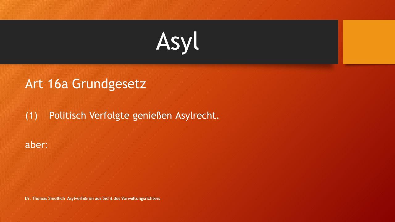 Asyl Art 16a Grundgesetz Politisch Verfolgte genießen Asylrecht. aber: