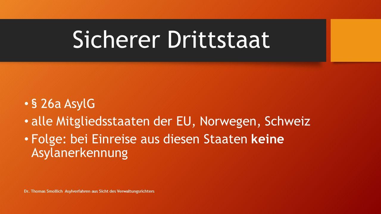 Sicherer Drittstaat § 26a AsylG