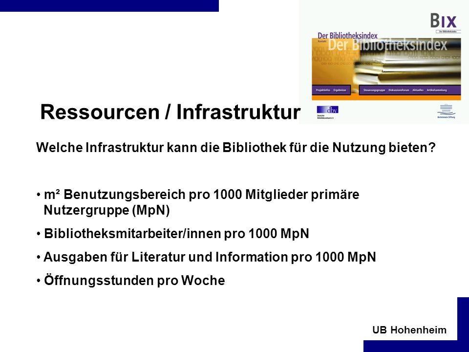 Ressourcen / Infrastruktur