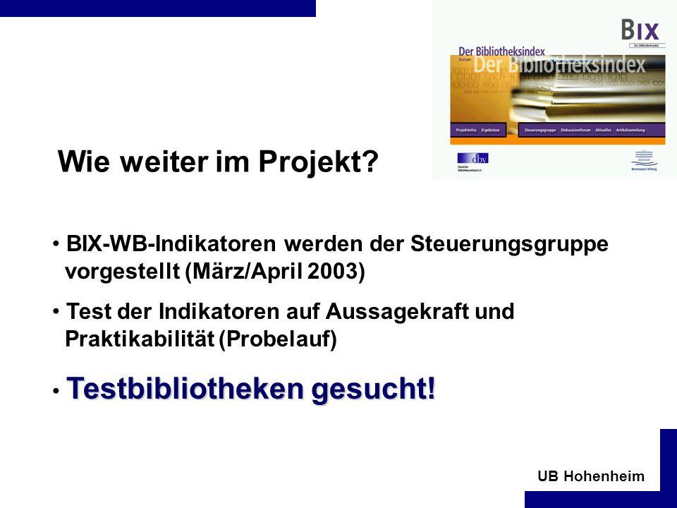 Wie weiter im Projekt BIX-WB-Indikatoren werden der Steuerungsgruppe vorgestellt (März/April 2003)