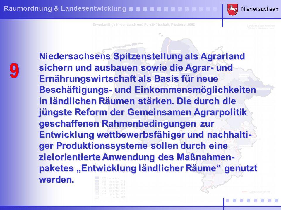 """Niedersachsens Spitzenstellung als Agrarland sichern und ausbauen sowie die Agrar- und Ernährungswirtschaft als Basis für neue Beschäftigungs- und Einkommensmöglichkeiten in ländlichen Räumen stärken. Die durch die jüngste Reform der Gemeinsamen Agrarpolitik geschaffenen Rahmenbedingungen zur Entwicklung wettbewerbsfähiger und nachhalti-ger Produktionssysteme sollen durch eine zielorientierte Anwendung des Maßnahmen-paketes """"Entwicklung ländlicher Räume genutzt werden."""
