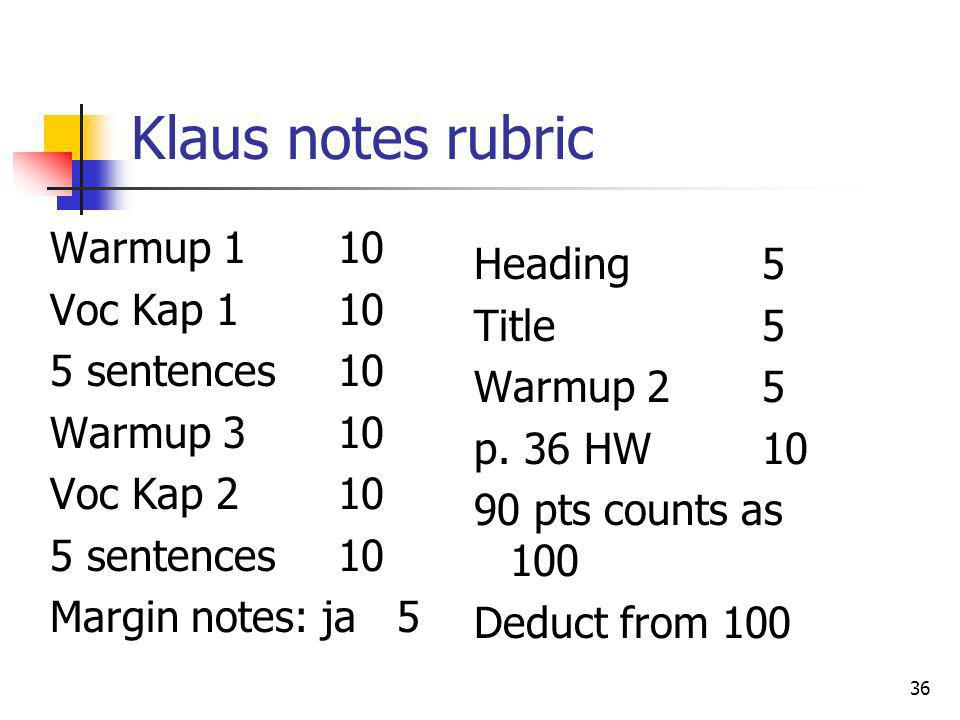 Klaus notes rubric Warmup 1 10 Voc Kap 1 10 5 sentences 10 Warmup 3 10 Voc Kap 2 10 Margin notes: ja 5