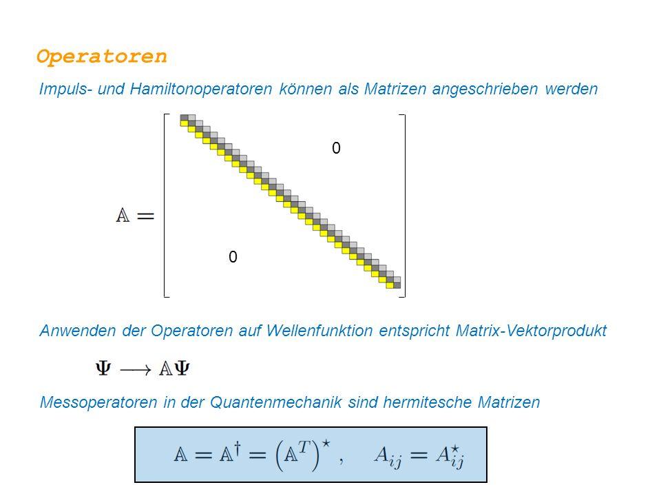 Operatoren Impuls- und Hamiltonoperatoren können als Matrizen angeschrieben werden.