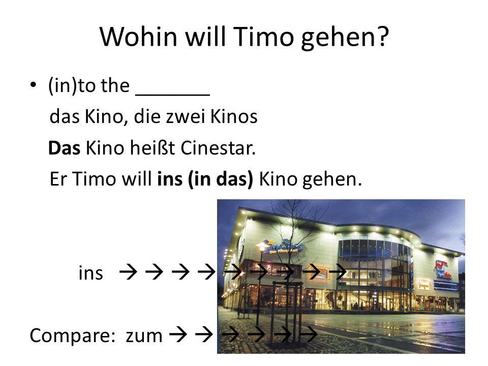 Wohin will Timo gehen (in)to the _______ das Kino, die zwei Kinos