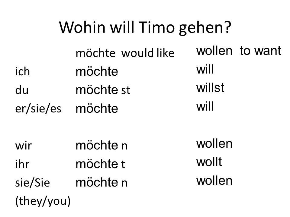 Wohin will Timo gehen wollen to want will willst wollen wollt ich du