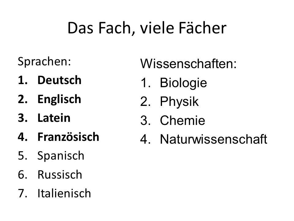 Das Fach, viele Fächer Sprachen: Wissenschaften: Deutsch Biologie