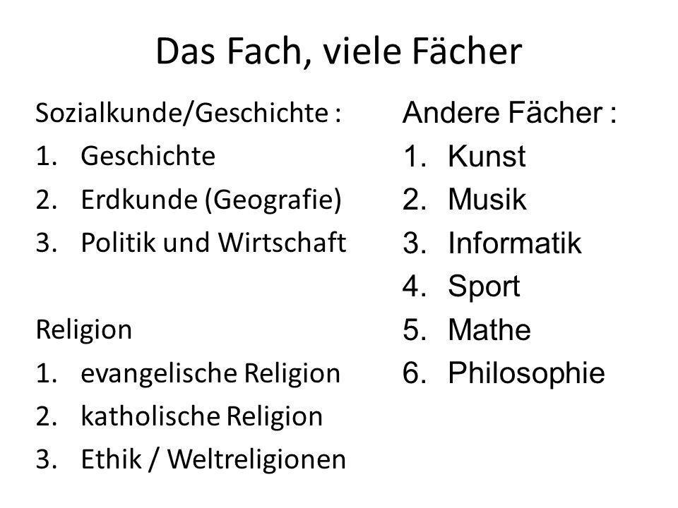 Das Fach, viele Fächer Sozialkunde/Geschichte : Geschichte