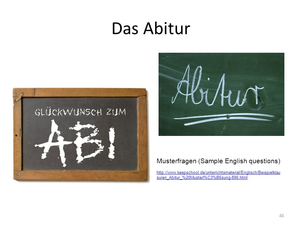 Das Abitur Musterfragen (Sample English questions)
