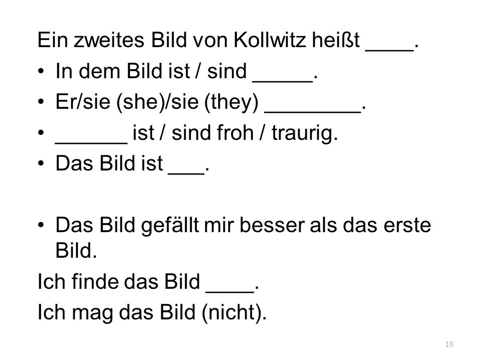 Ein zweites Bild von Kollwitz heißt ____.