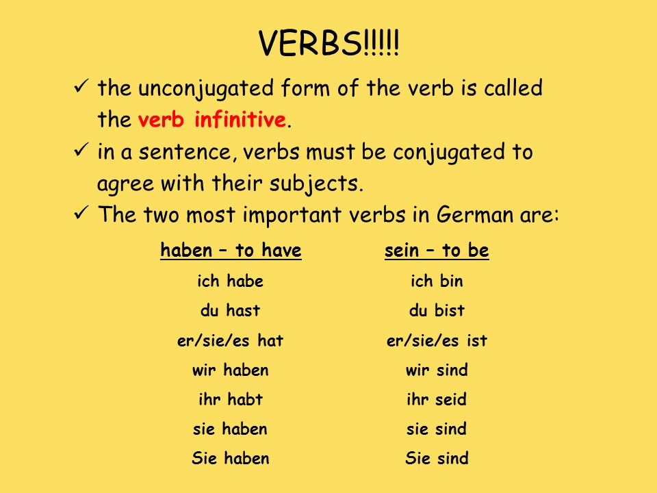 VERBS!!!!! the unconjugated form of the verb is called