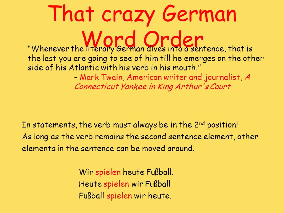 That crazy German Word Order