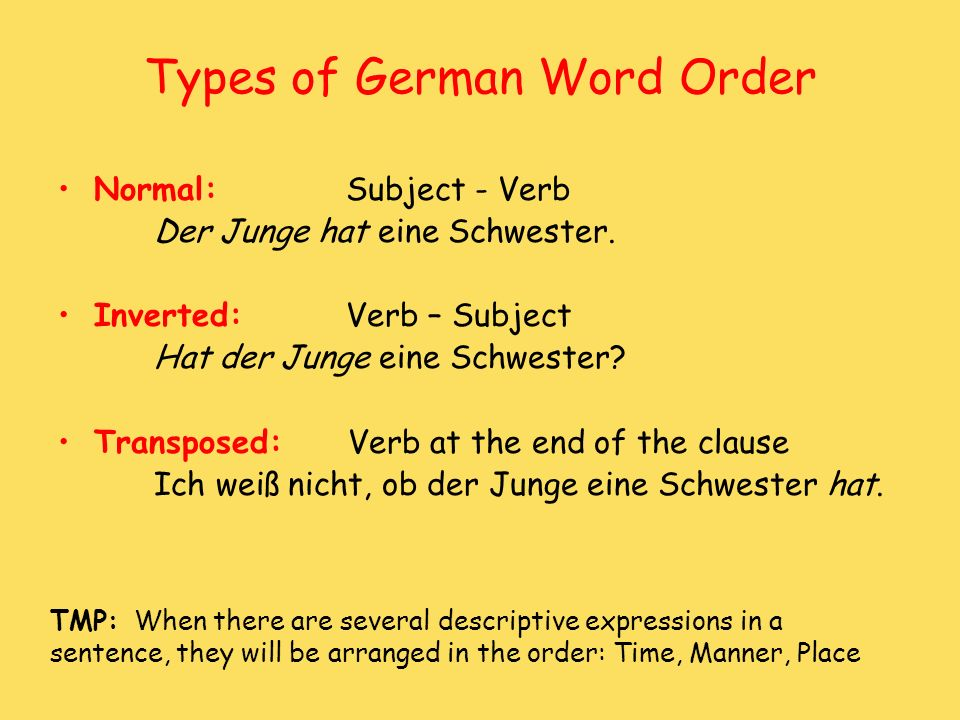 Types of German Word Order