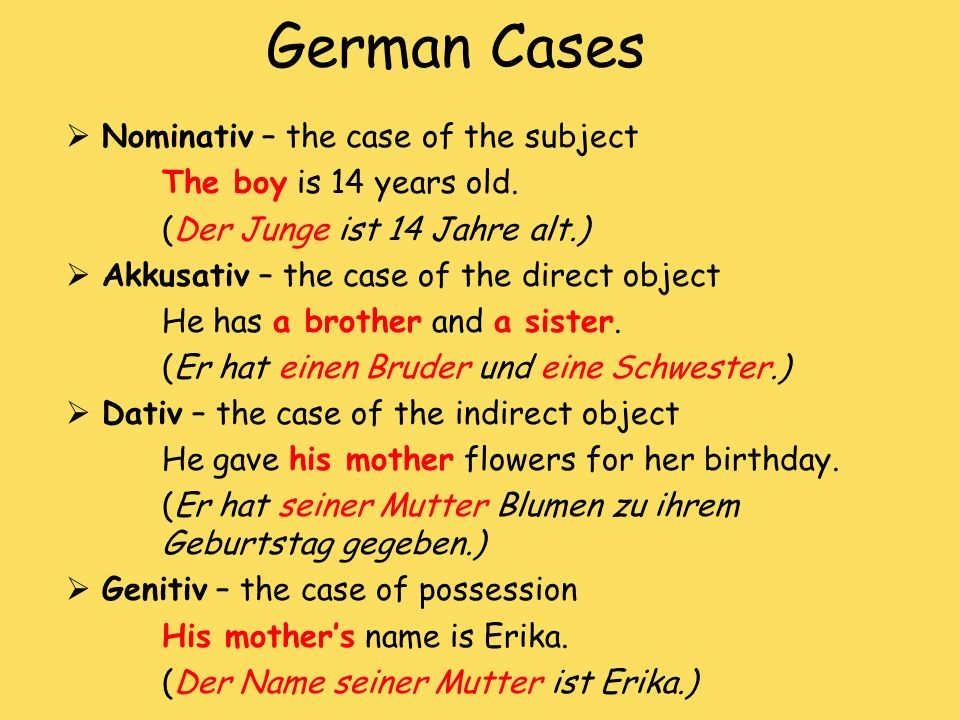 German Cases Nominativ – the case of the subject