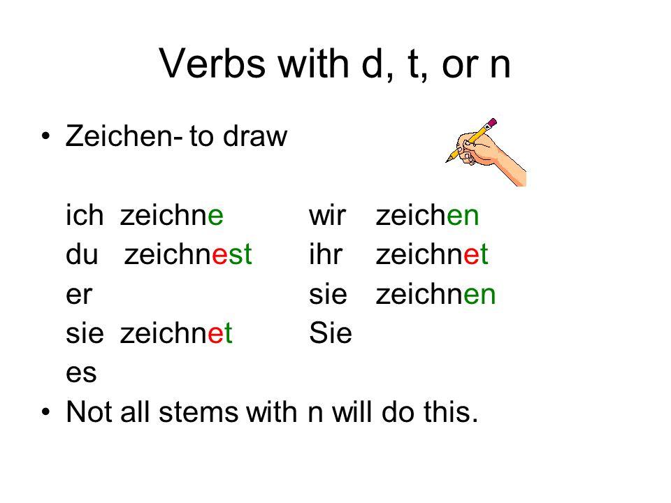 Verbs with d, t, or n Zeichen- to draw ich zeichne wir zeichen