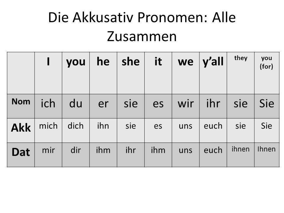 Die Akkusativ Pronomen: Alle Zusammen